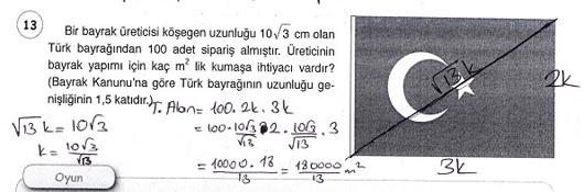 8. Sınıf Öğün Yayınları Matematik Ders Kitabı 124. Sayfa Cevapları 2.Ünite Pisagor Bağıntısı ve Problemler
