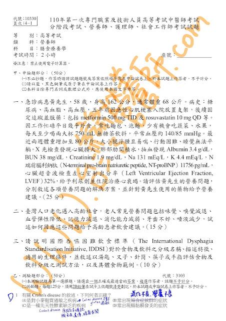 台灣營養師Vivian【秒懂營養師國考】考古題解題!110年第一次營養師國考膳食療養學