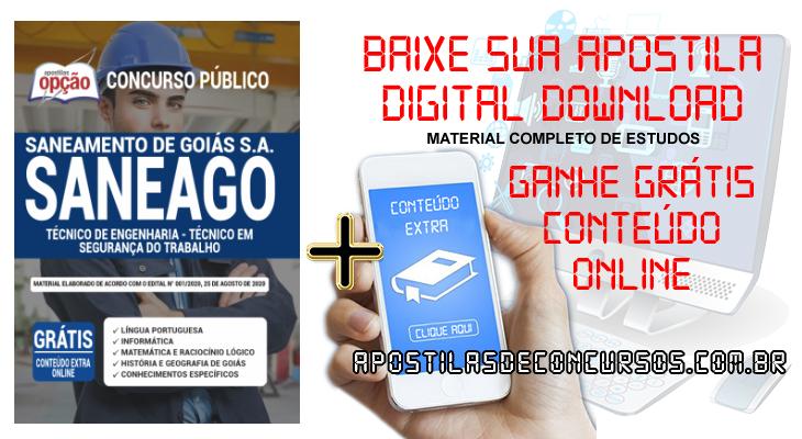 Apostila Concurso SANEAGO 2020 PDF e Impressa Técnico de Engenharia Técnico em Segurança do Trabalho