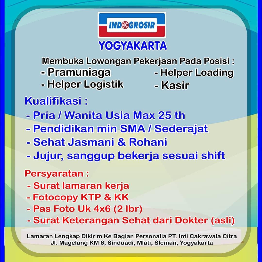 Indogrosir Yogyakarta membuka lowongan pekerjaan pada posisi Pramuniaga, Helper Logistik, Helper Loading & Kasir