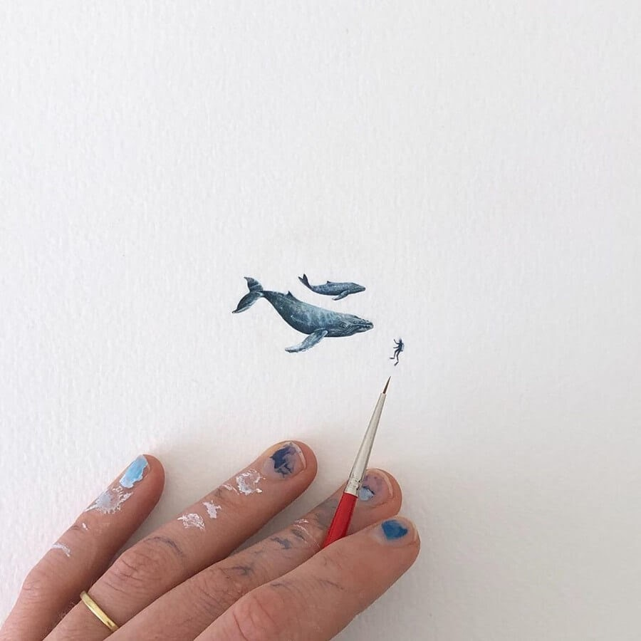 01-Whale-and-baby-Calf-Lorraine-Loots-Tiny-Art-www-designstack-co