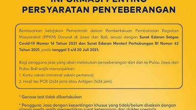 PPKM Darurat, Keluar Masuk Jawa dan Bali Via Pelabuhan Wajib Tunjukan Ini