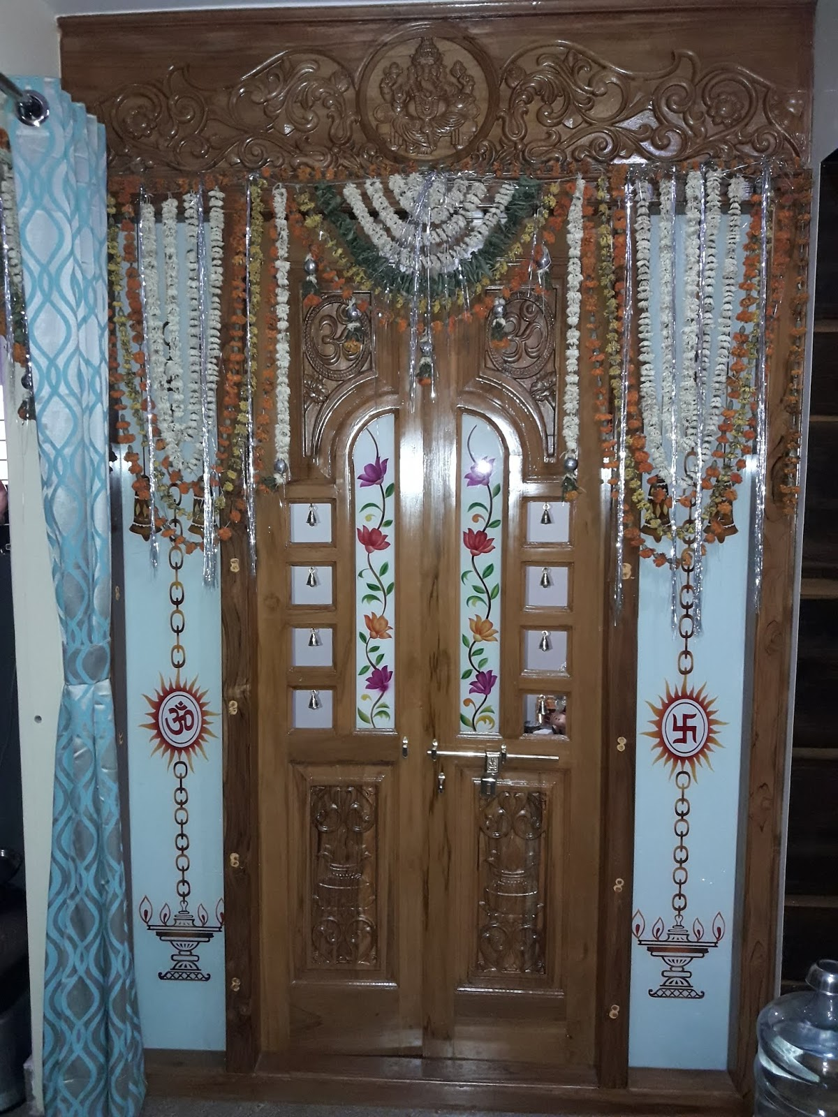 Puja Room Design: Puja Room Door Design With Bed Design Verified Tiles And