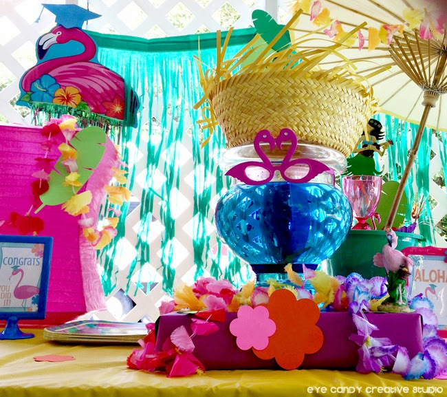 luau party table decor ideas, luau party, graduation flamingo