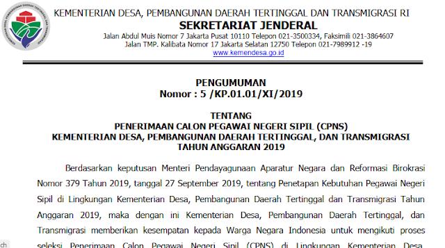 cpns kementerian desa 2019; rincian formasi cpns kemendes 2019; www.tomatalikuang.com