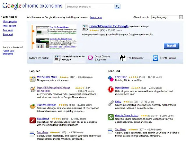 2009: Chrome OS and extensions