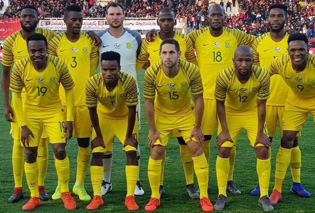 Bafana Bafana players posing before a game