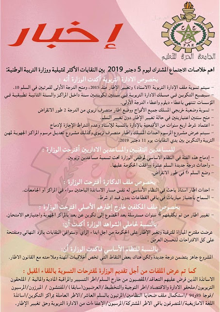 أهم خلاصات اجتماع 5 دجنبر 2019 مع وزارة التربية الوطنية جميع الفئات
