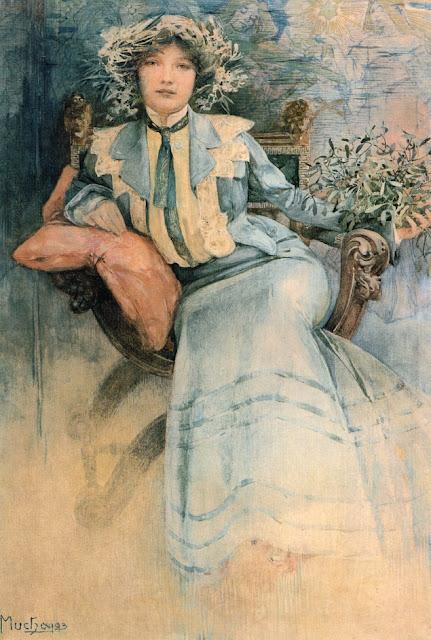 Альфонс Муха - Портрет миссис Мухи с омелой. 1903