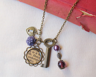 image mr darcy necklace boho charm skeleton key jane austen pride and prejudice two cheeky monkeys skeleton key botanical floral beaded purple ombre
