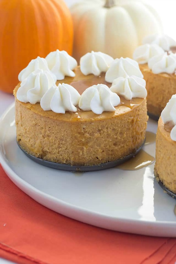 Mini Pumpkin Cheesecakes from Cookie Dough and Oven Mitt