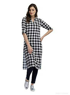 The Bebo Black & White Color Crepe Kurti for womens