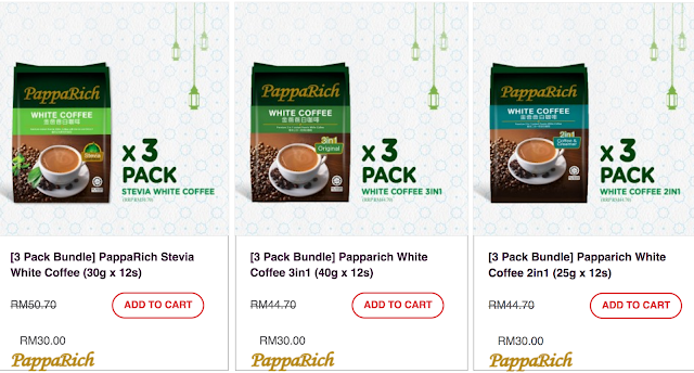 PappaRich White Coffee Stevia Original 3 Pack Bundle