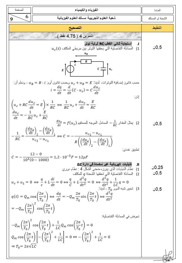 تصحيح الامتحان الوطني 2021