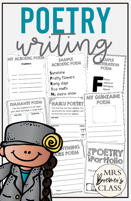 Poetry Writing unit featuring 10 poem styles with examples, graphic organizers, and writing templates for First Grade, Second Grade, & Third Grade