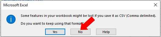 keep using format csv