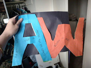a blue 'A' and an orange 'W' glued together. the words NAME REDACTED just a creepy sad little stalker are on the A, followed by 2000-still on the W