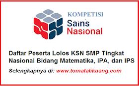 Daftar Peserta Lolos KSN SMP Nasional 2020 Bidang Matematika