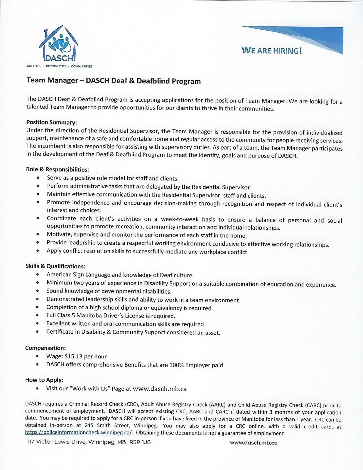 Deaf Centre Manitoba Inc : September 2017