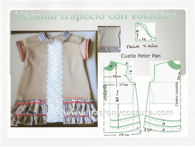http://www.patronycostura.com/2015/10/vestido-nina-trapecio-con-volantes-y.html