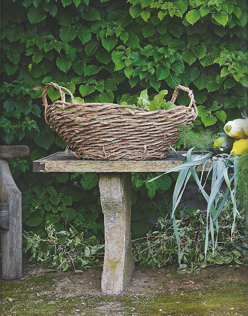 Gathering basket after a morning in the château's vegetable gardens, image from AT HOME with May and Axel Vervoordt, Recipes for Every Season, edited by lb for (l&l)