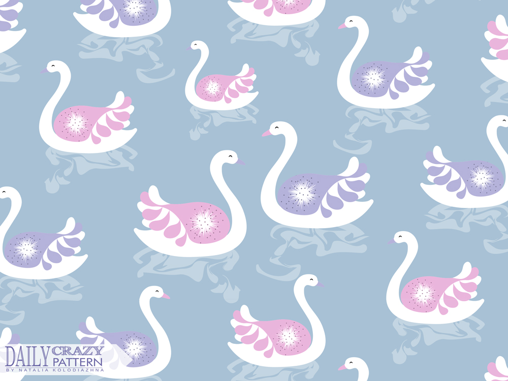 "Delicate artprint with swans for ""Daily Crazy Pattern"""