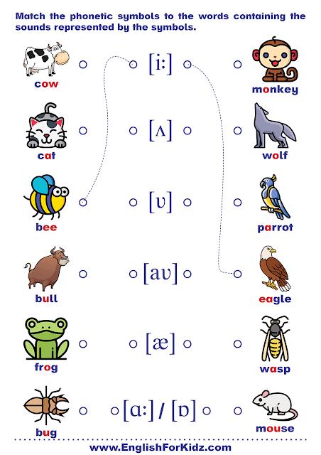 Phonics worksheet - matching vowel sounds to IPA symbol
