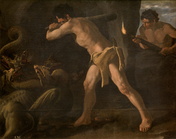 Hercules and the Hydra by Zurbaran, Classical mythology, Greek mythology, Roman mythology, mythological Art Paintings, Myths and Legends