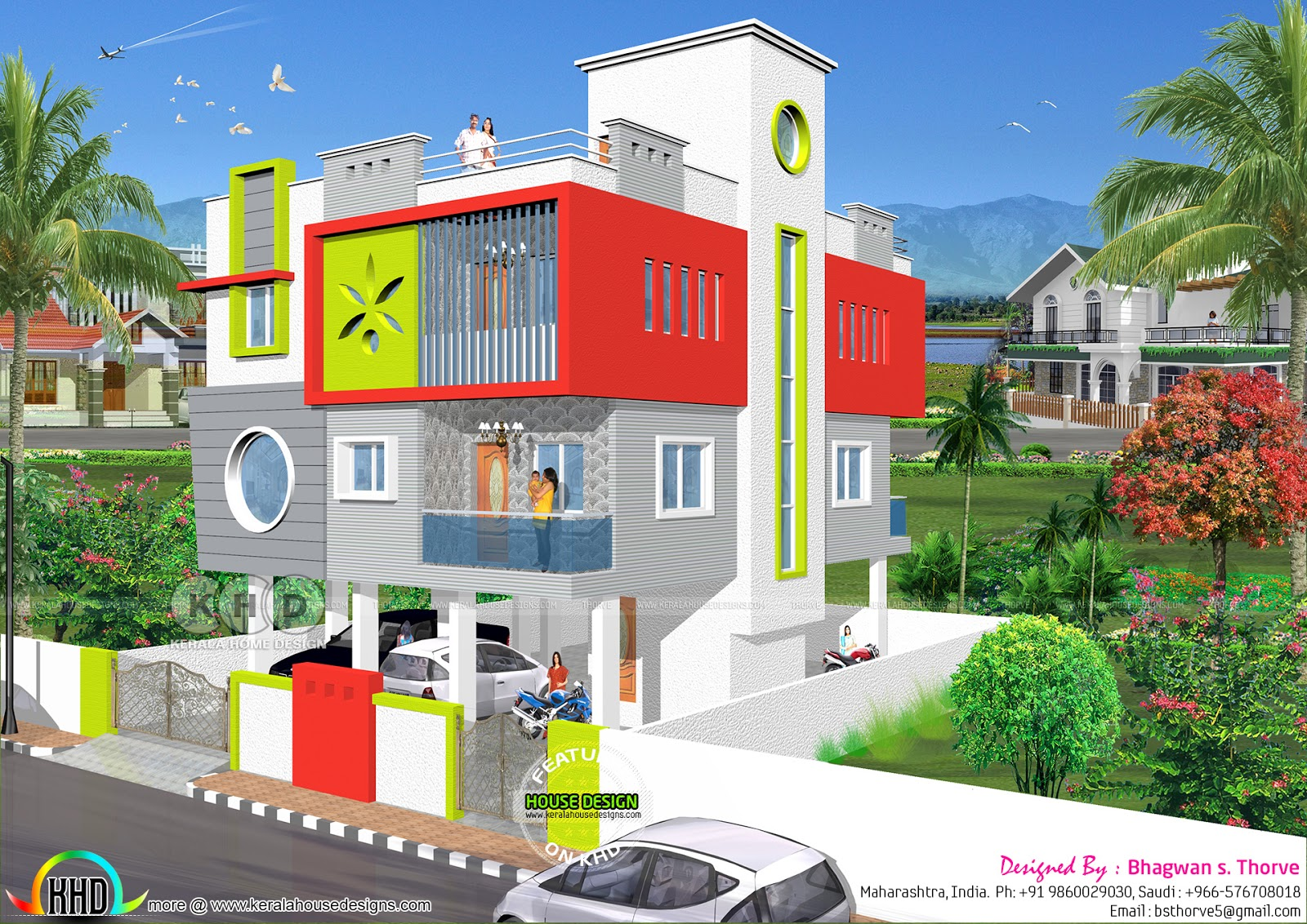 Modern north indian style house with stilt floor kerala for North indian house designs photos