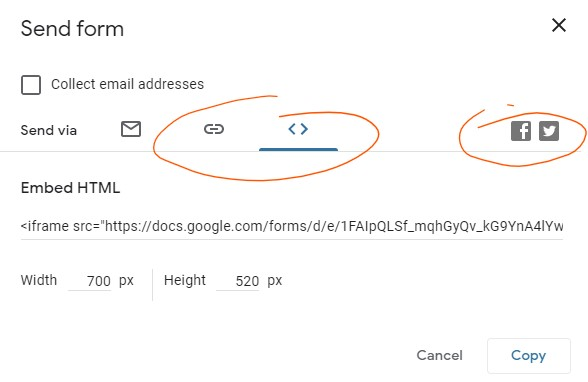 Google Form Template - embed and share