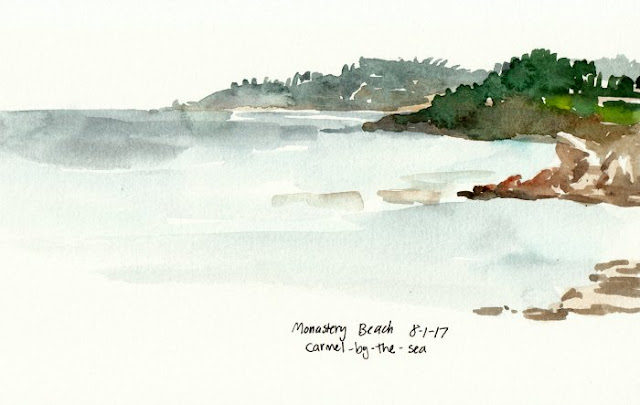 Monastery Beach seascape watercolor sketch