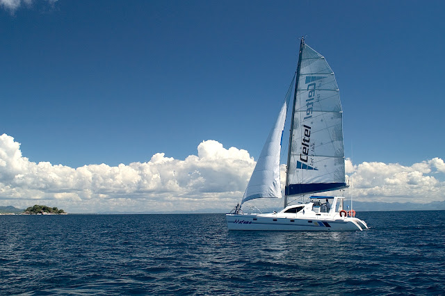 Mufasa, the 40ft catamaran, on Lake Malawi - Danforth Yachting