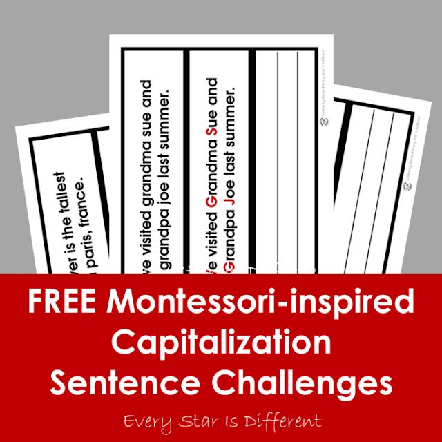 FREE Montessori-inspired Capitalization Sentence Challenges