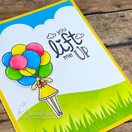 Newton's Nook Designs Send Uplifting Smiles Blog Hop | Uplifting card by Jennifer Jackson | Holding Happiness Stamp Set, Uplifting Wishes Stamp Set, Hills & Grass Stencil and Sky Borders Die Set by Newton's Nook Designs #newtonsnook #handmade