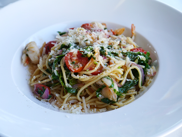 Prawn, basil, and cherry tomato pasta at Poplar Grove Winery in Naramata Bench, Okanagan, BC wine country