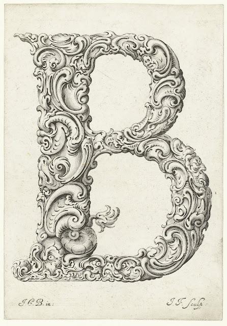 Print of the Capital B engraving from Libellus Novus Elementorum Latinorum by Jeremias Falck after Johann Christian Bierpfaf, c. 1650, Rijksmuseum Collection