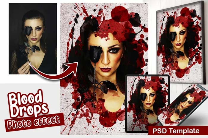 Blood Drops PSD Photo Template