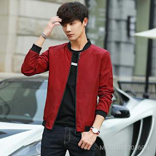 Stand Collar Cotton Solid Long Sleeve Zipper Men'S Jackets