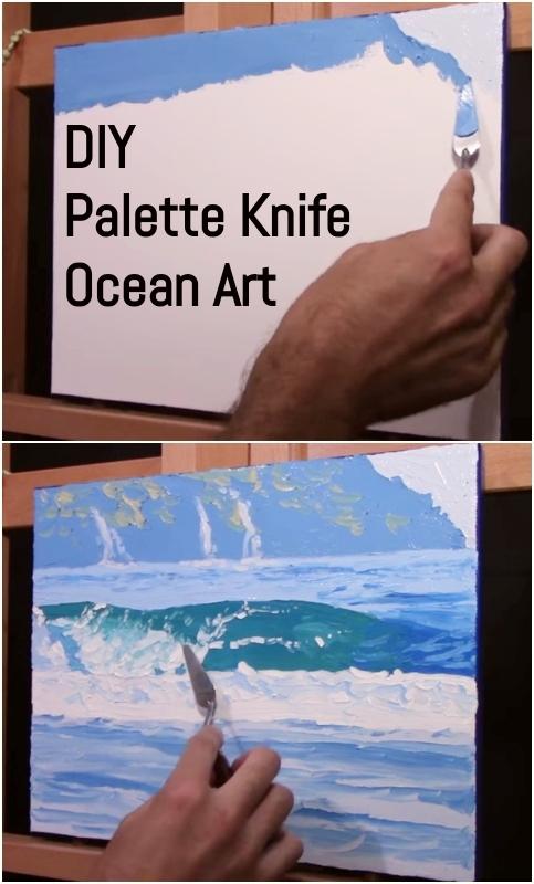 DIY Palette Knife Ocean Art Painting