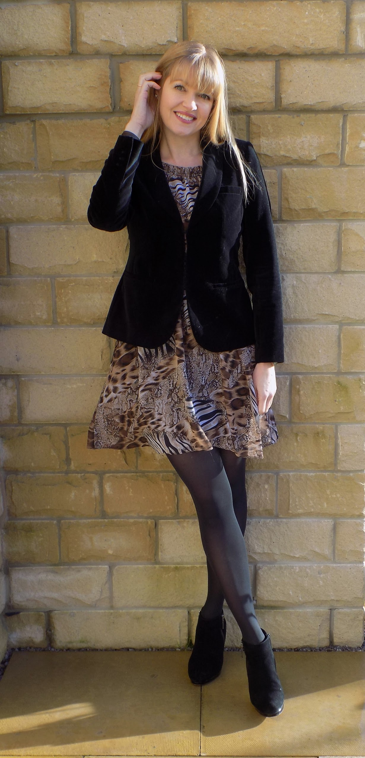 How to wear an animal print dress in winter