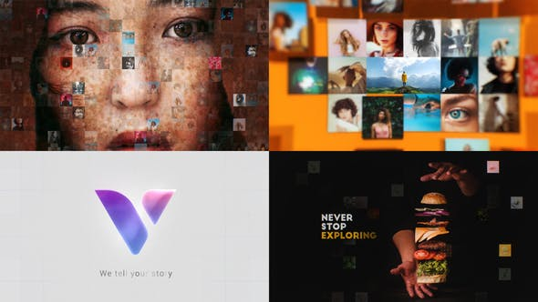 VIDEOHIVE MOSAIC PHOTOS & VIDEOS LOGO REVEAL