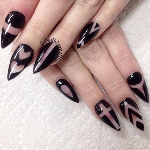40 black nail art ideas fashion hippoo draw various designs such as lines diagonals and hearts and cross designs on your nails using black nail polish and a clear base and top prinsesfo Images