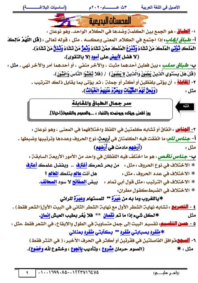 أساسيات البلاغة للثانوية العامة في١٥ورقة أ/ ياسر سليم 9