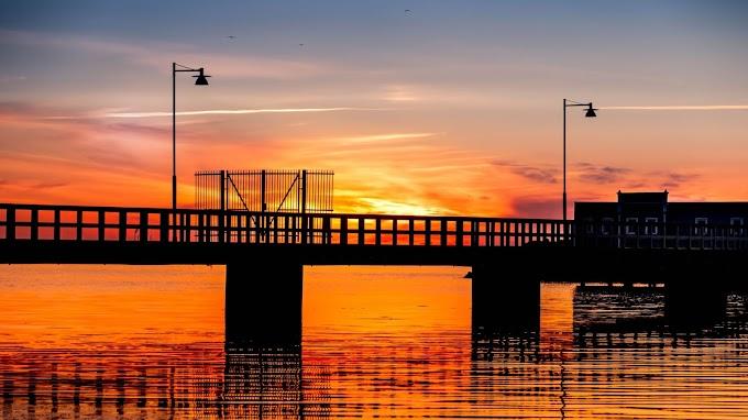 Tela de Fundo Pier na Paisagem Pôr do Sol
