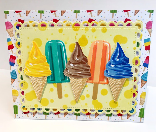 Sunny Studio Stamps: Two Scoops Perfect Popsicles Customer Card by Rouge Bow
