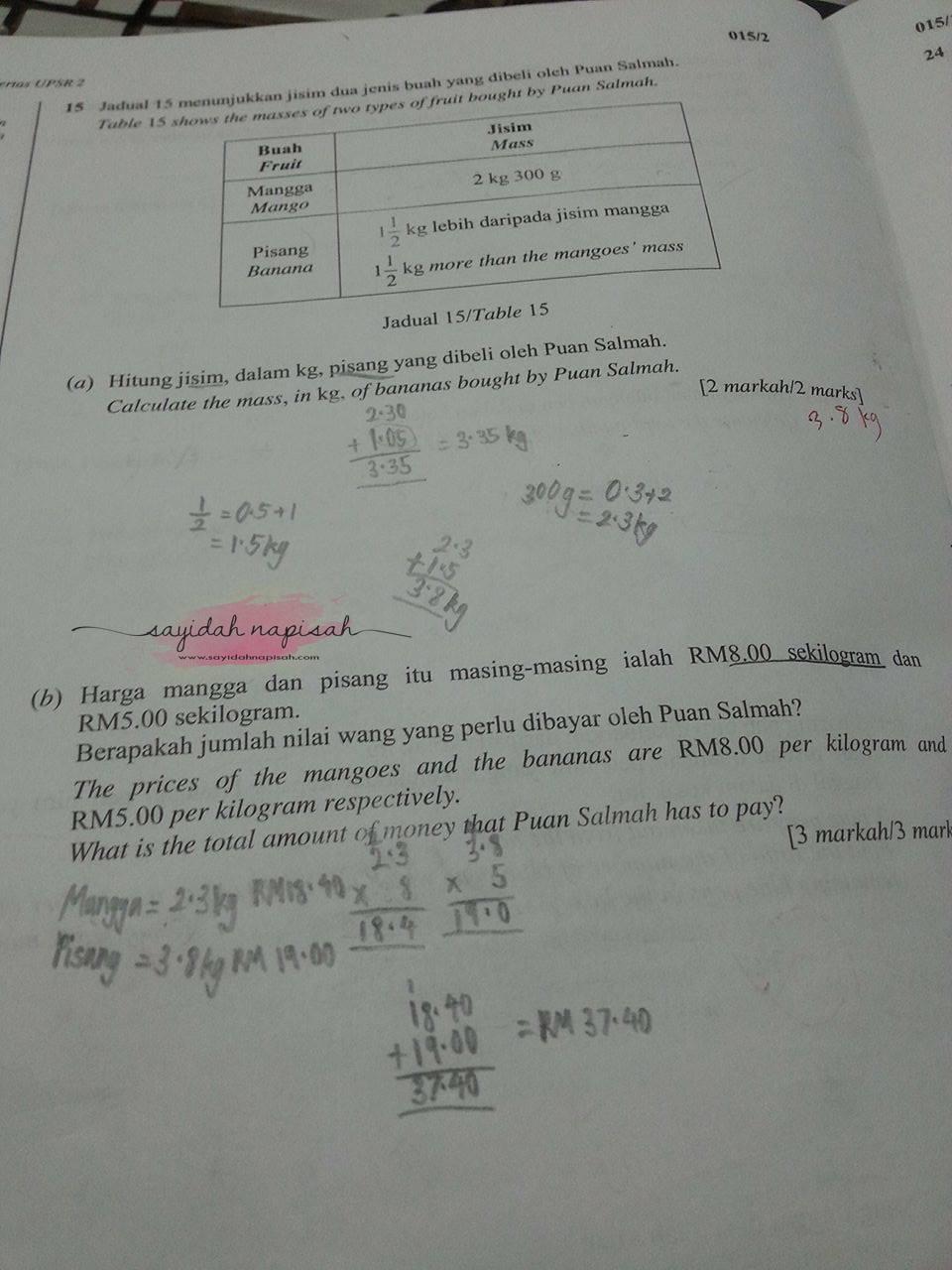soalan matematik darjah 6