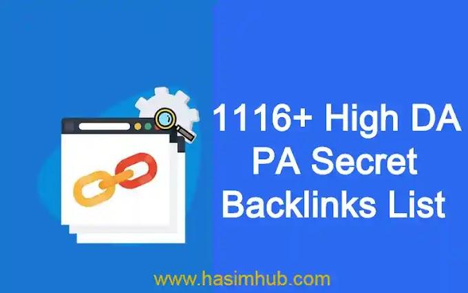 1116+ High DA PA Secret Backlinks List By SEO Experts - Hasim Hub