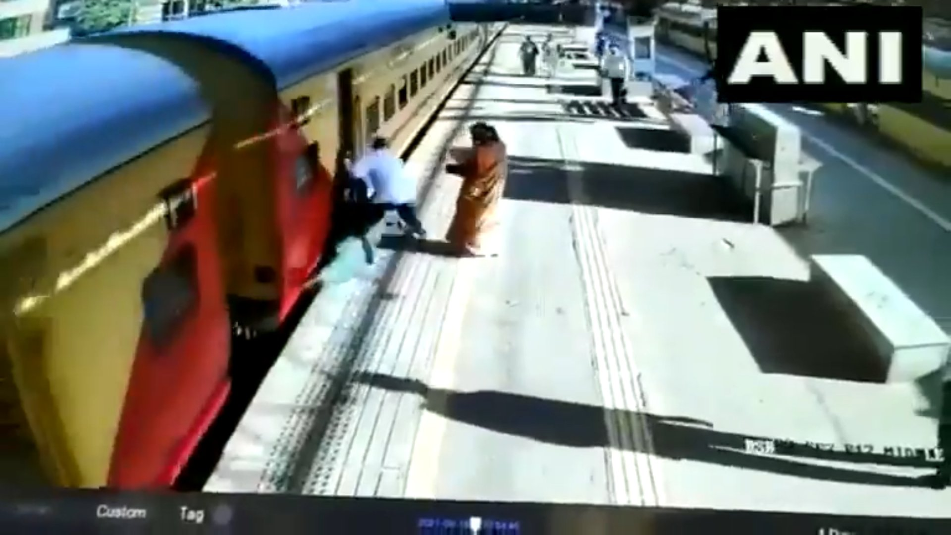 Woman fell after slipping on moving train