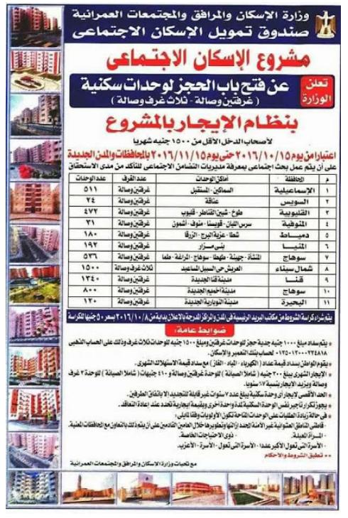 وزارة الاسكان تفتح باب الحجز لشقق سكنية لذوى الدخل الاقل من 1500 جنيه بالمحافظات