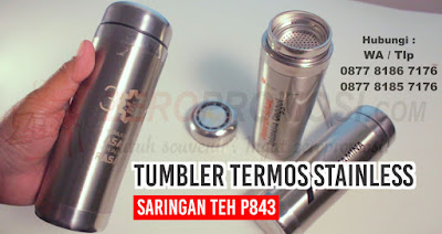 Souvenir tumbler, tumbler promosi, zeropromosi, tumbler stainless Saringan Teh, Cetak Tumbler Stainless Steel, TUMBLER P843 TALI, Strap STAINLESS Tumbler p843, Souvenir tumbler termos stainless saringan teh P843, Tumbler Stainless Saringan P843